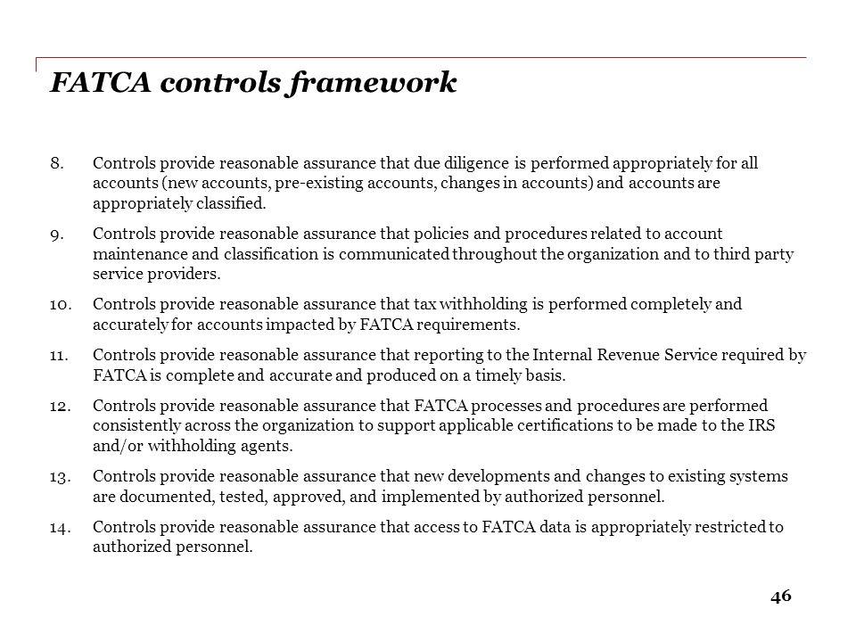 FATCA controls framework