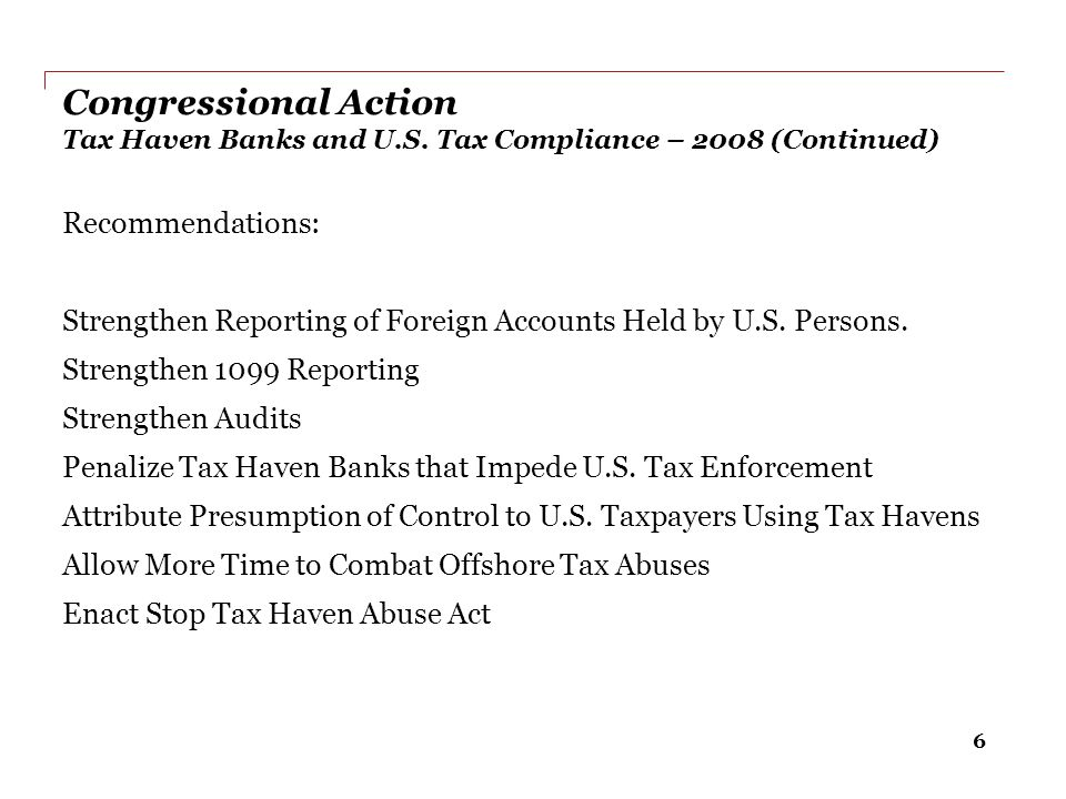 Congressional Action Tax Haven Banks and U. S