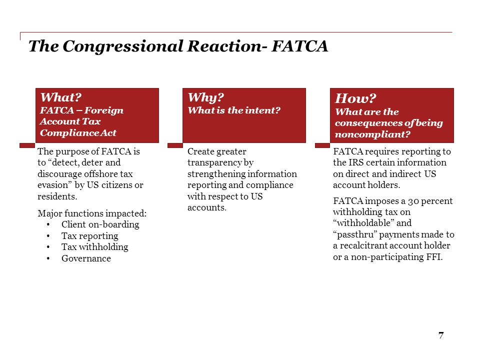 The Congressional Reaction- FATCA