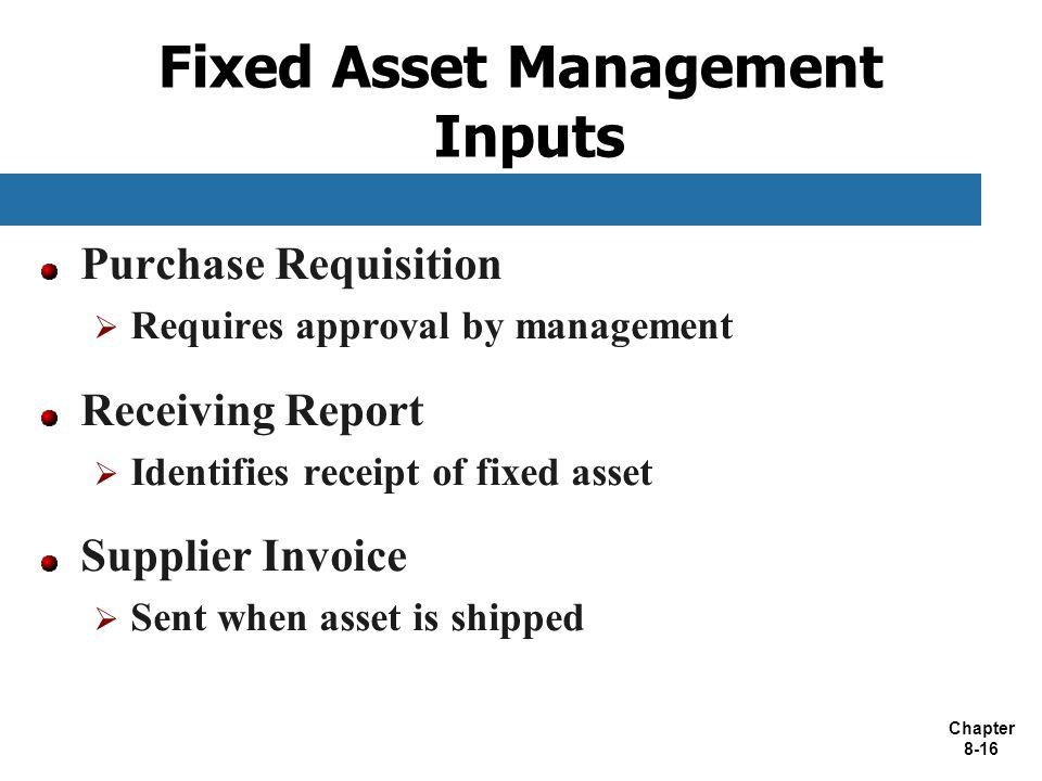 Fixed Asset Management Inputs