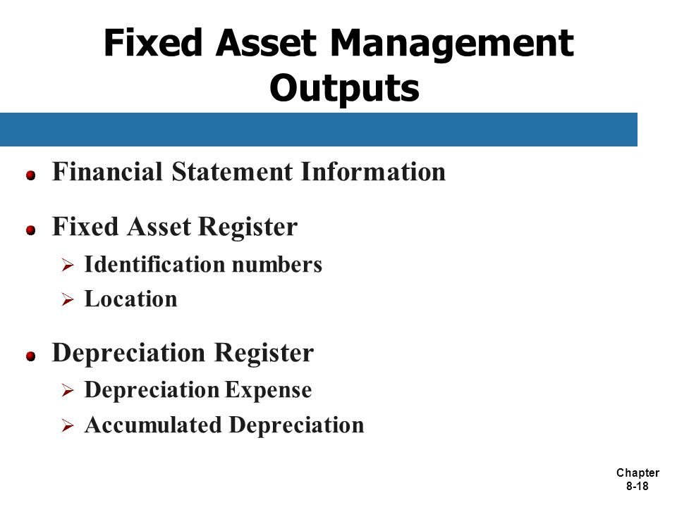 Fixed Asset Management Outputs