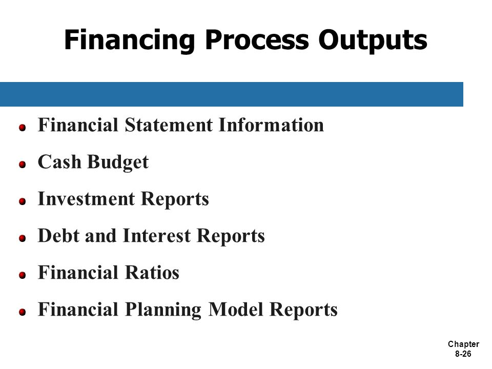 Financing Process Outputs