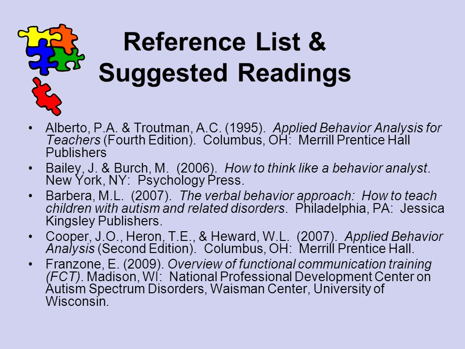 Reference List & Suggested Readings