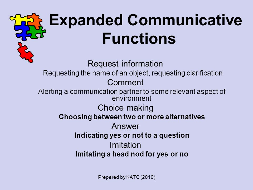 Expanded Communicative Functions