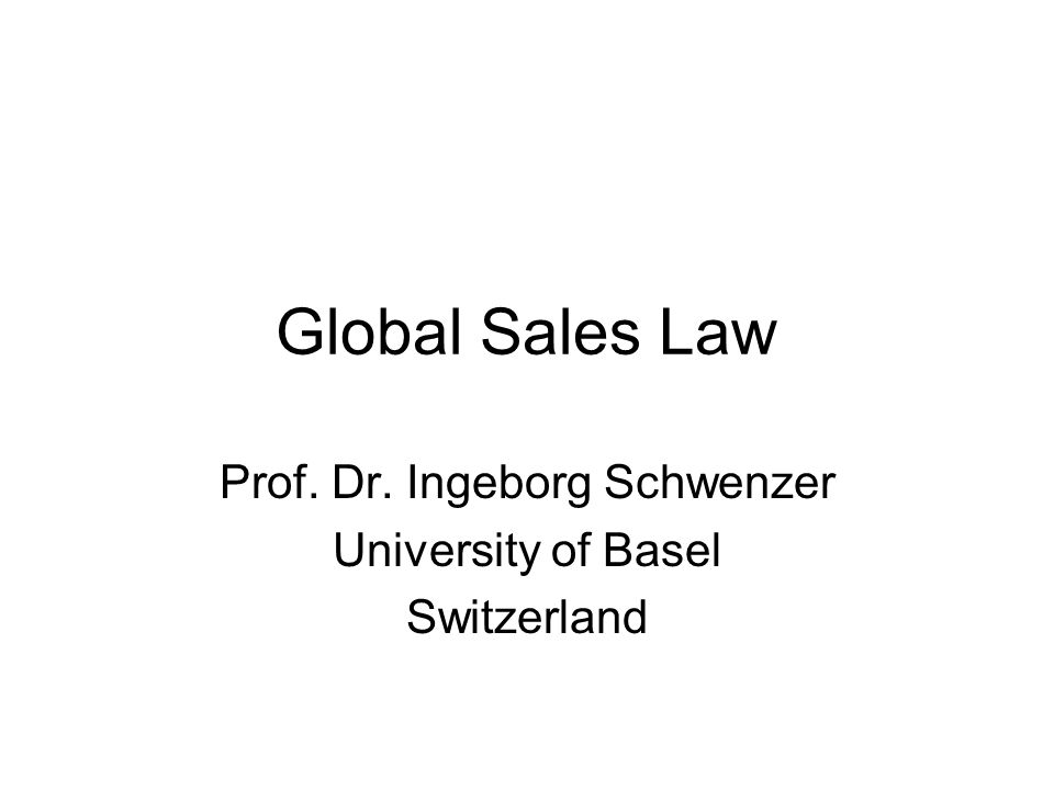 Prof. Dr. Ingeborg Schwenzer University of Basel Switzerland