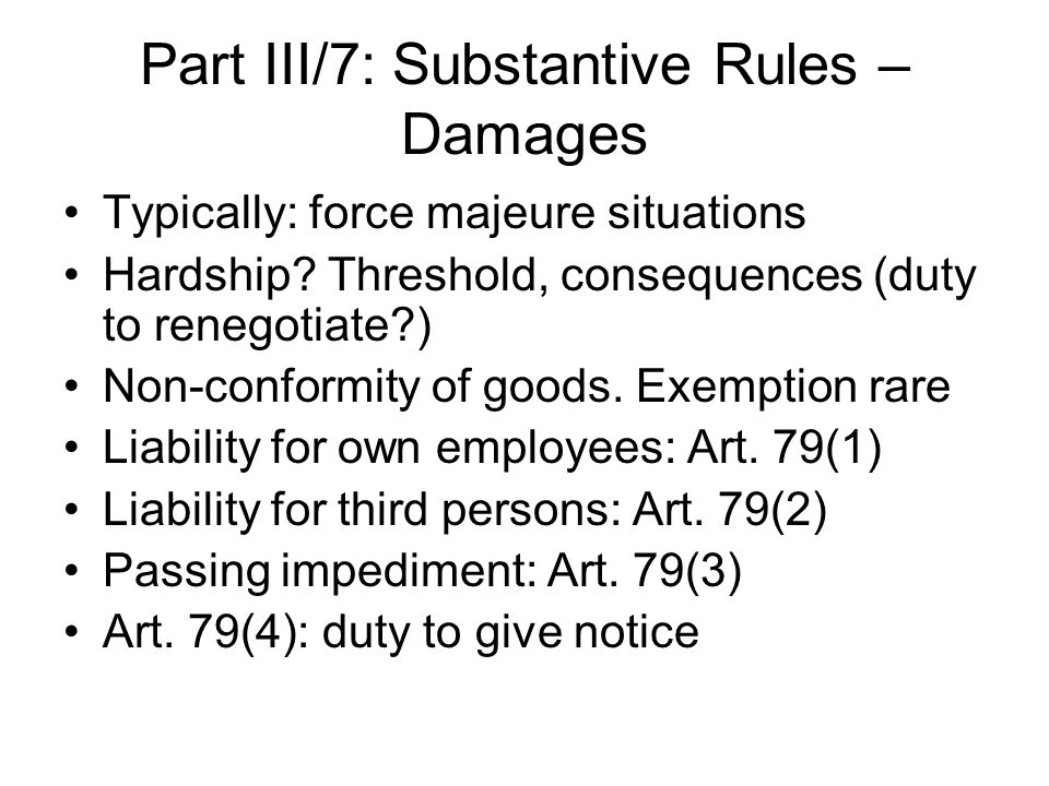 Part III/7: Substantive Rules – Damages