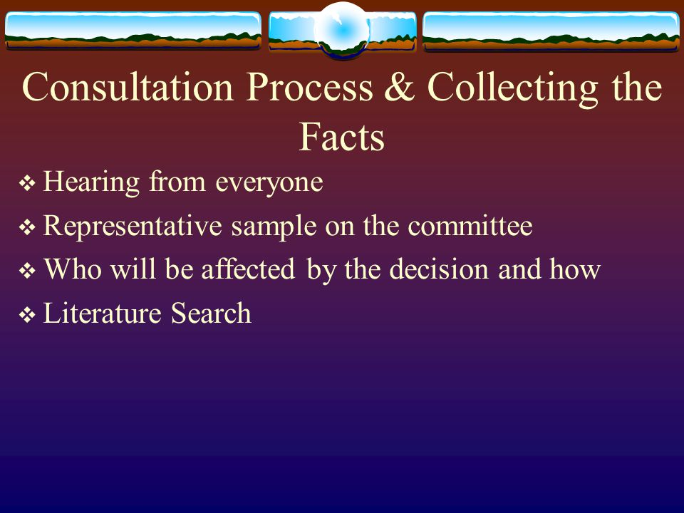 Consultation Process & Collecting the Facts