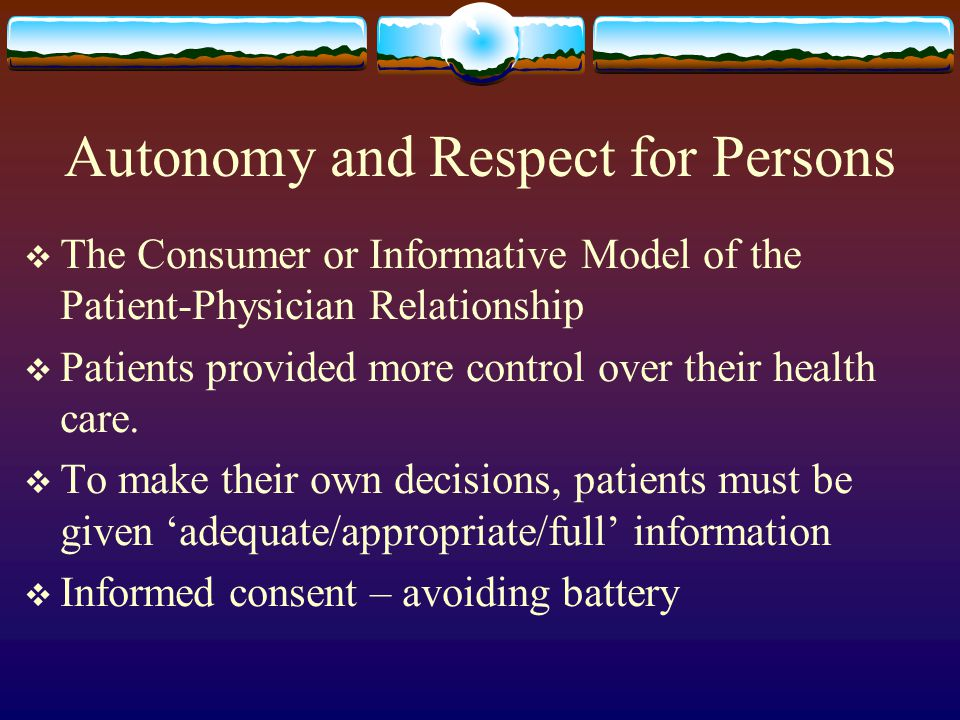Autonomy and Respect for Persons