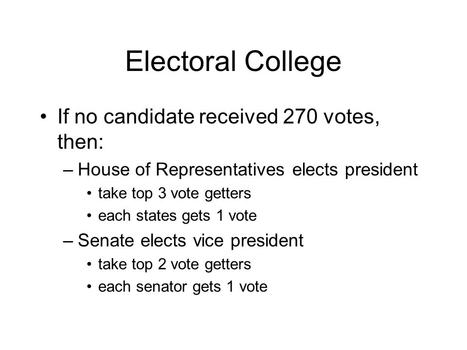 Electoral College If no candidate received 270 votes, then: