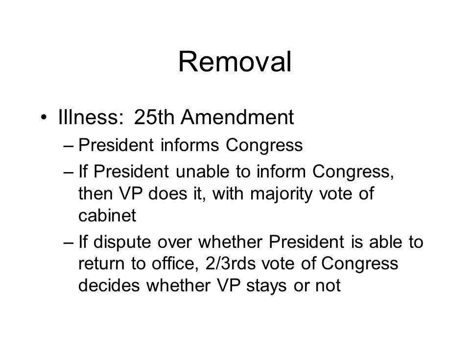 Removal Illness: 25th Amendment President informs Congress