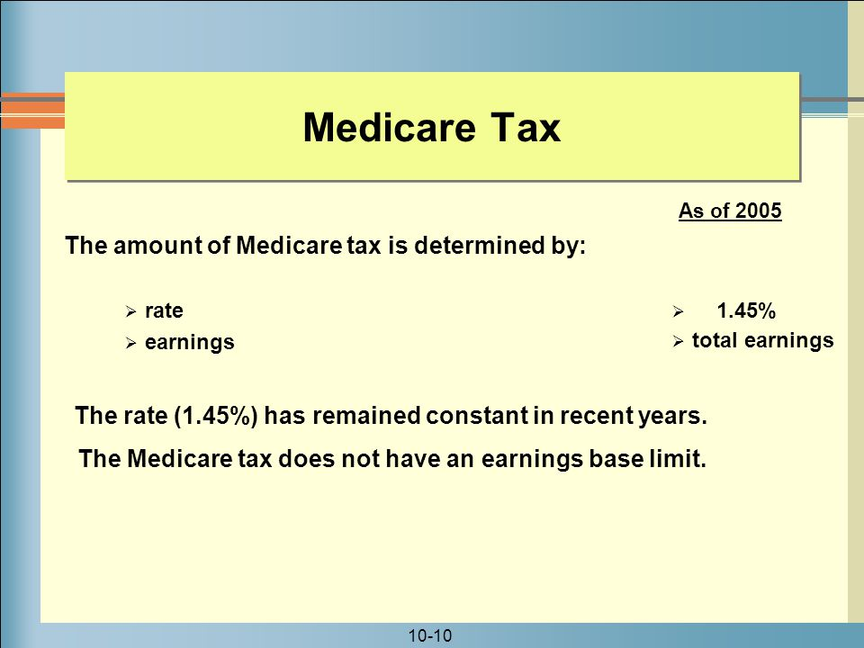 Medicare Tax The amount of Medicare tax is determined by: