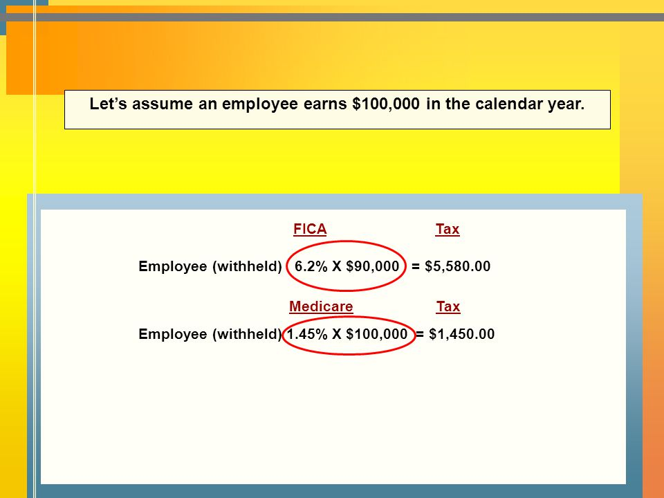 Let's assume an employee earns $100,000 in the calendar year.