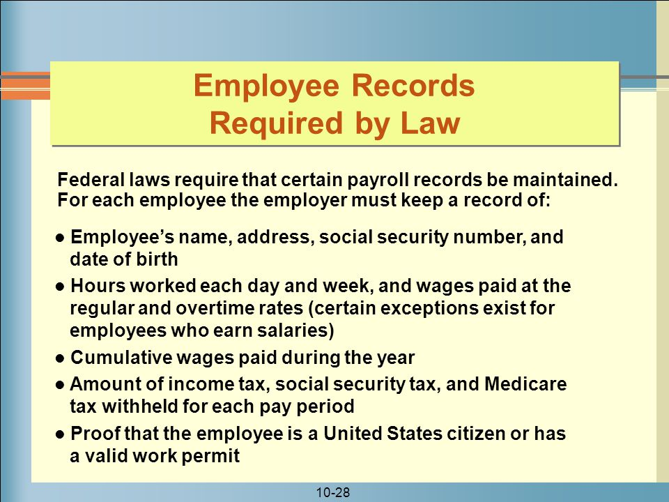 Employee Records Required by Law