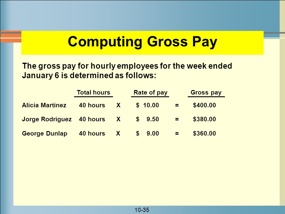 Computing Gross Pay The gross pay for hourly employees for the week ended January 6 is determined as follows:
