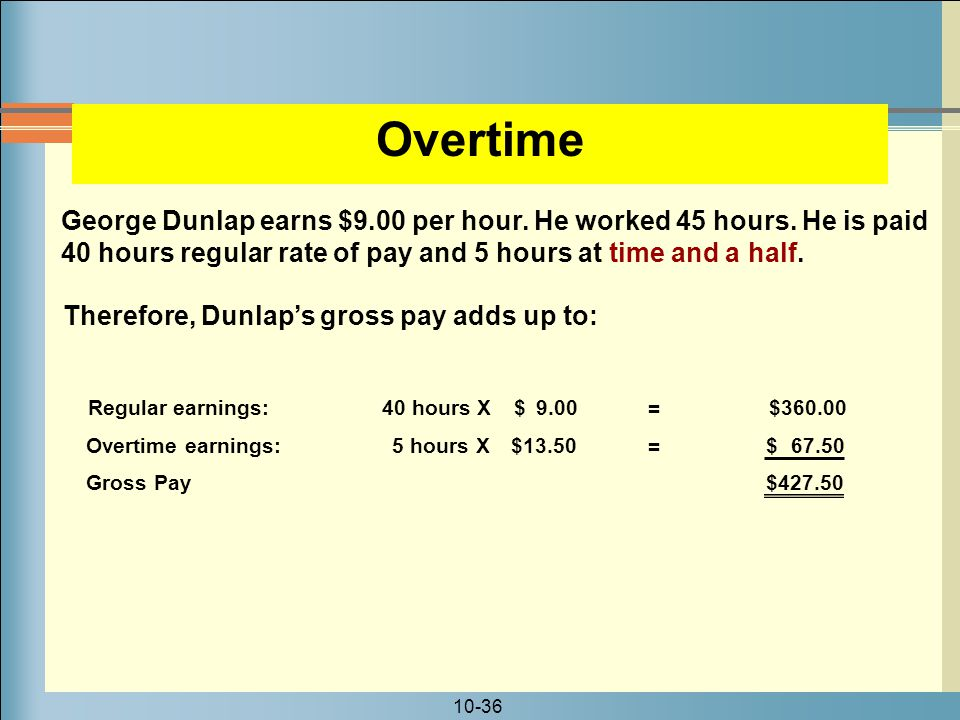 Overtime George Dunlap earns $9.00 per hour. He worked 45 hours. He is paid 40 hours regular rate of pay and 5 hours at time and a half.