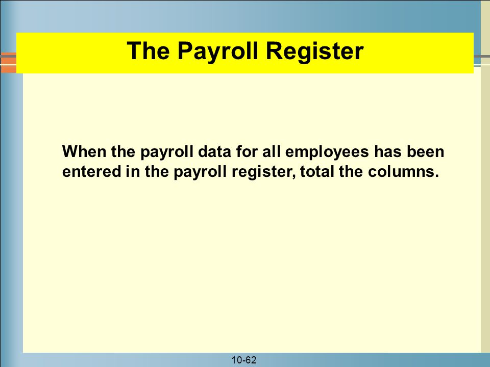 The Payroll Register When the payroll data for all employees has been entered in the payroll register, total the columns.