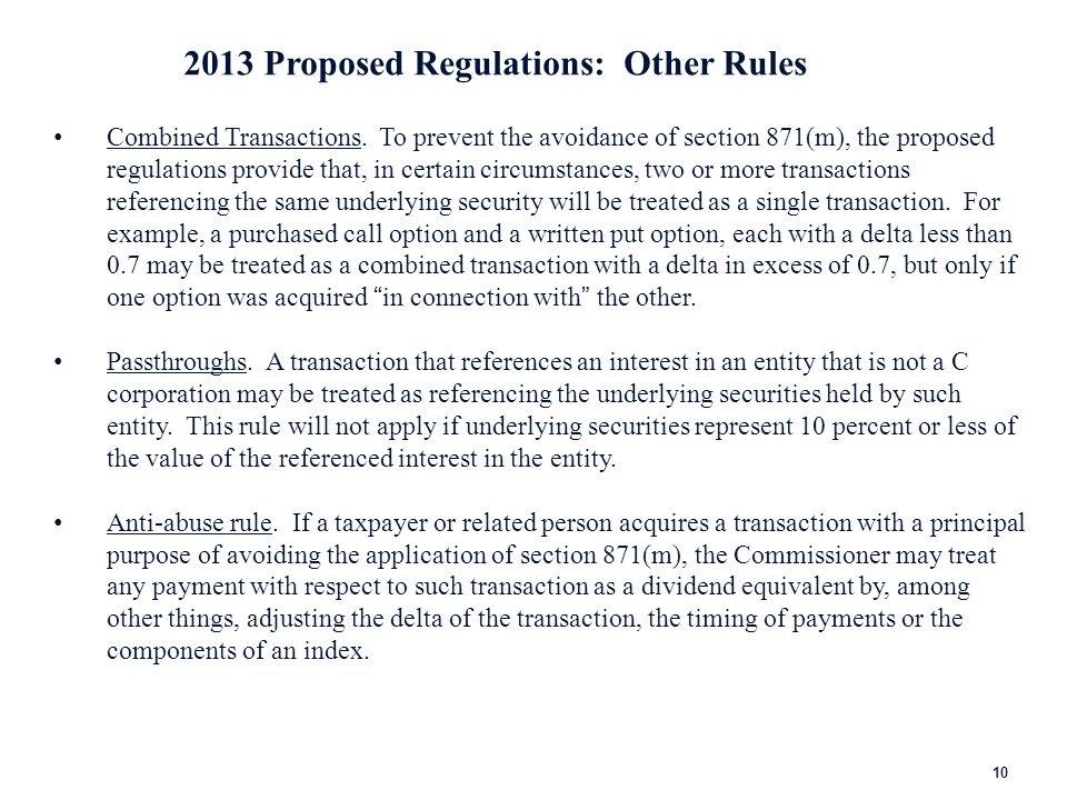 2013 Proposed Regulations: Two Exceptions