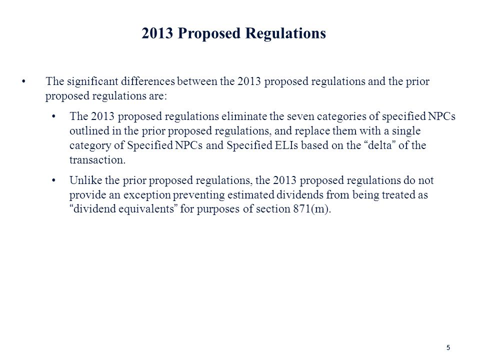 2013 Proposed Regulations: Delta Test