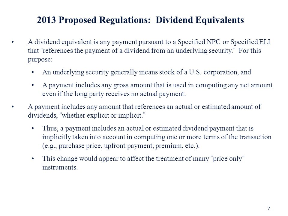 2013 Proposed Regulations: Calculation of Dividend Equivalents