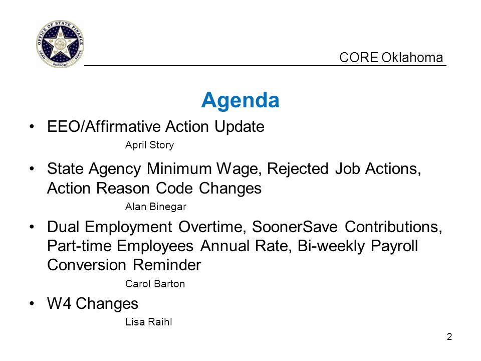 Agenda CORE Oklahoma EEO/Affirmative Action Update