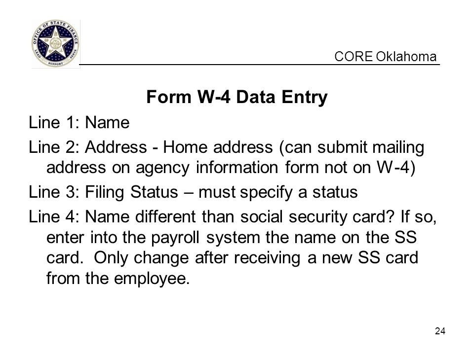 Form W-4 Data Entry Line 1: Name