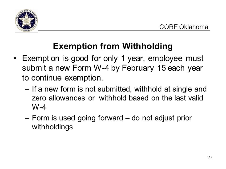 Exemption from Withholding