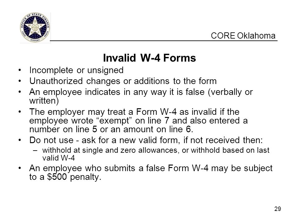 Invalid W-4 Forms CORE Oklahoma Incomplete or unsigned