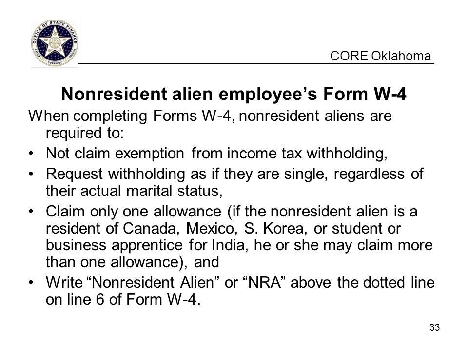 Nonresident alien employee's Form W-4