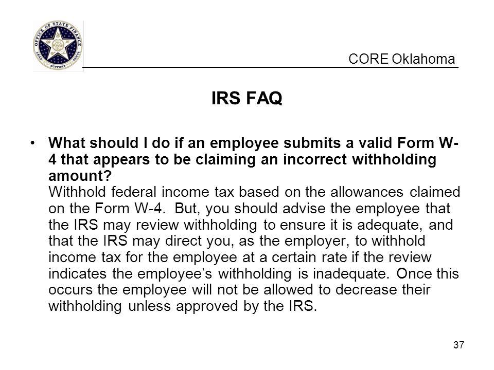 CORE Oklahoma __________________________________________________. IRS FAQ.