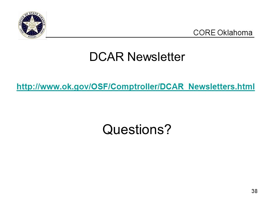 Questions DCAR Newsletter CORE Oklahoma