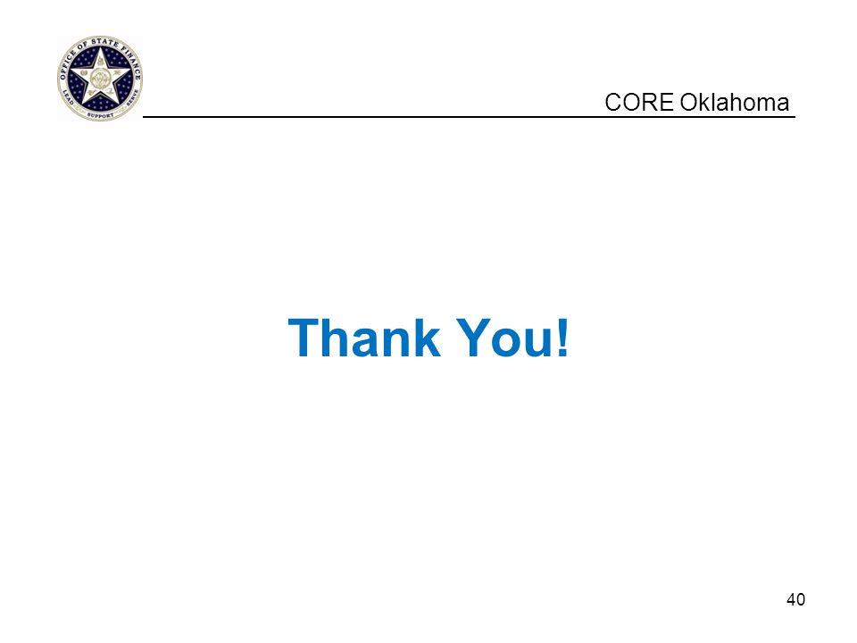 Thank You! CORE Oklahoma