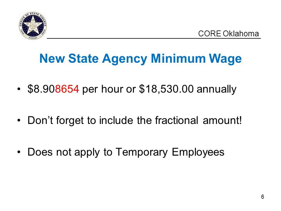 New State Agency Minimum Wage