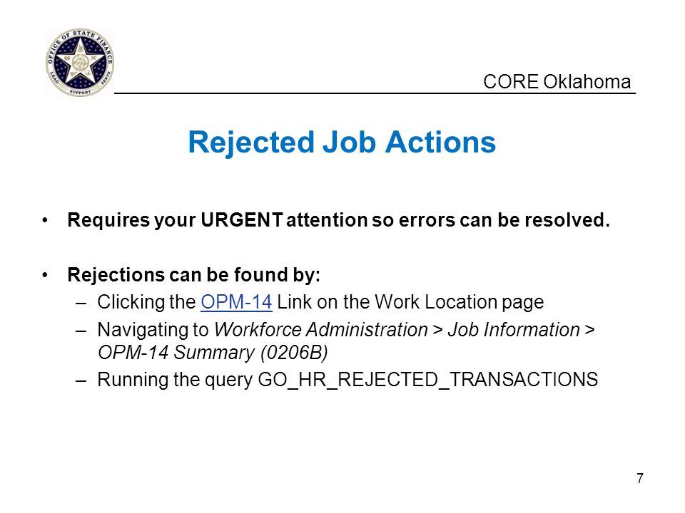 Rejected Job Actions CORE Oklahoma