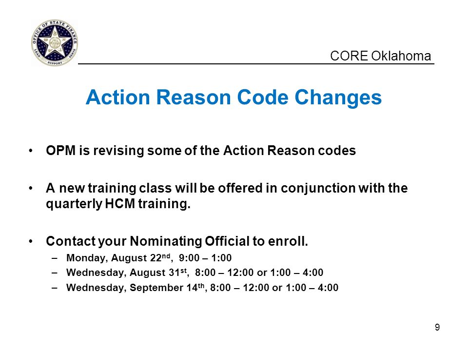Action Reason Code Changes