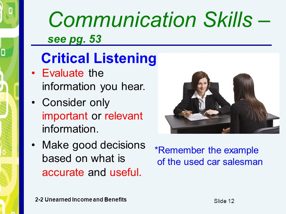 Communication Skills –see pg. 53