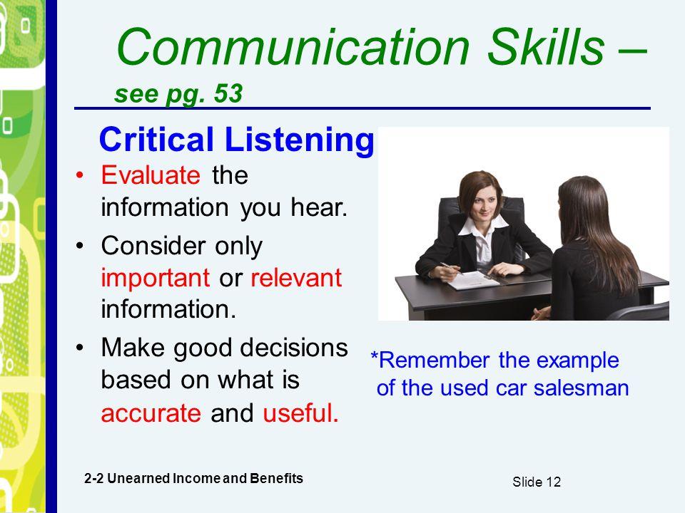 Communication Skills –see pg. 53