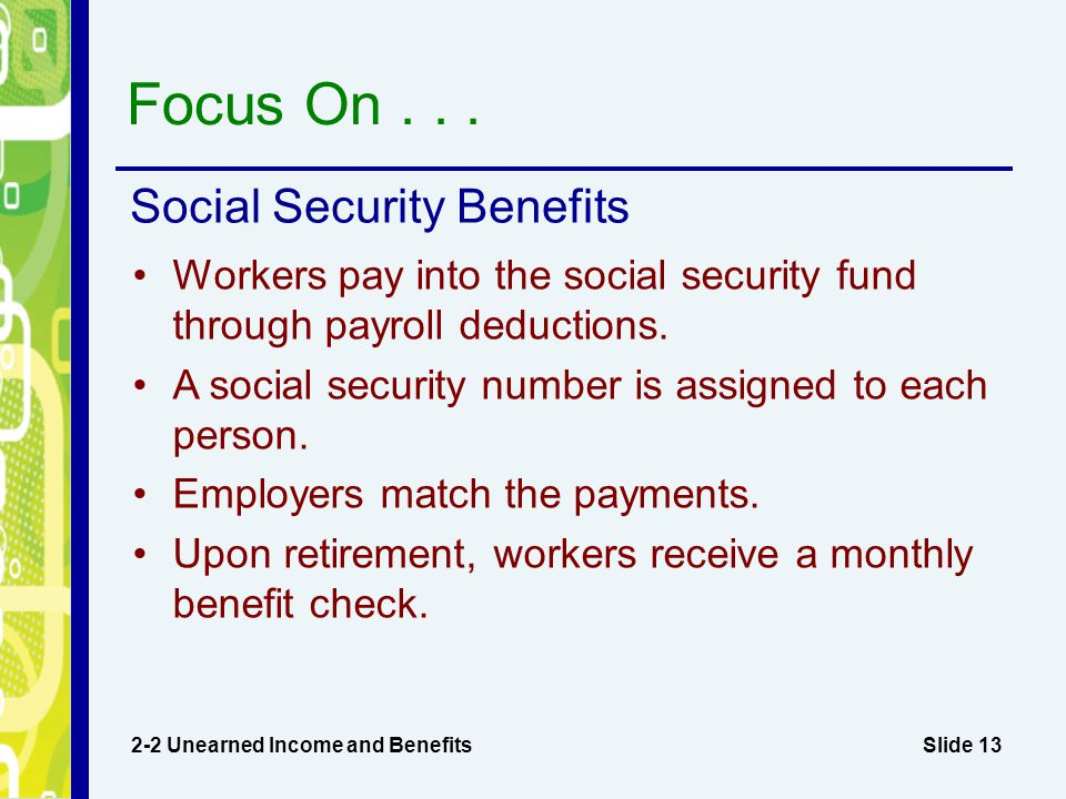 Focus On Social Security Benefits