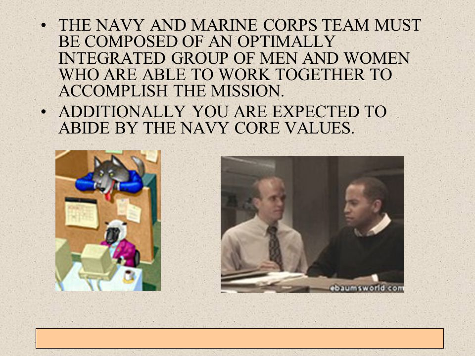 ADDITIONALLY YOU ARE EXPECTED TO ABIDE BY THE NAVY CORE VALUES.