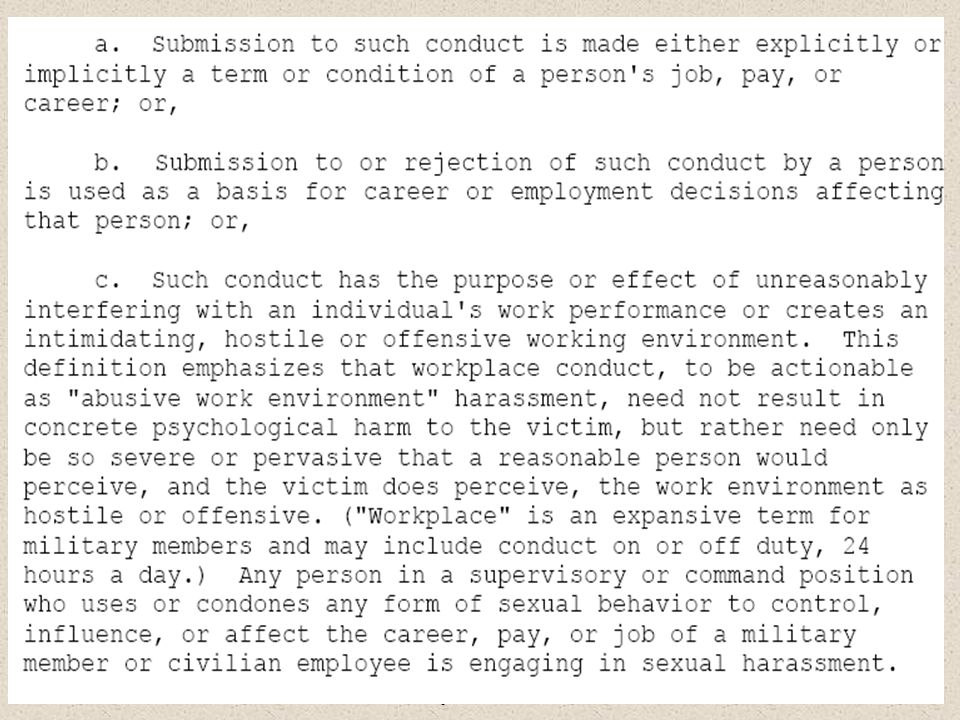 General Military Training – Sexual Harassment, EO, Homosexual Policy, and Grievance Procedures