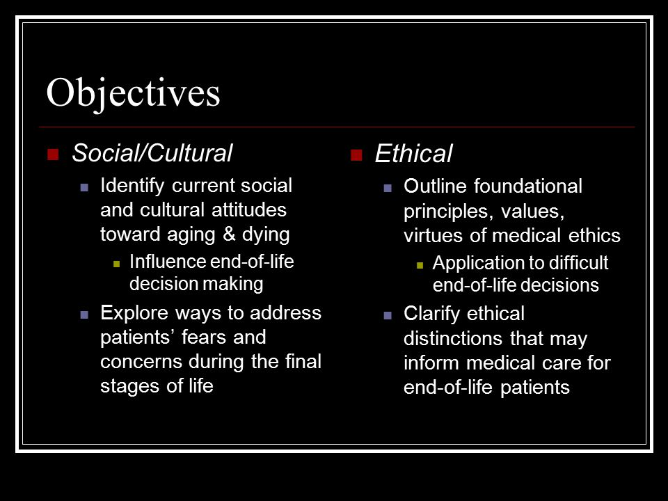 Objectives Ethical Social/Cultural