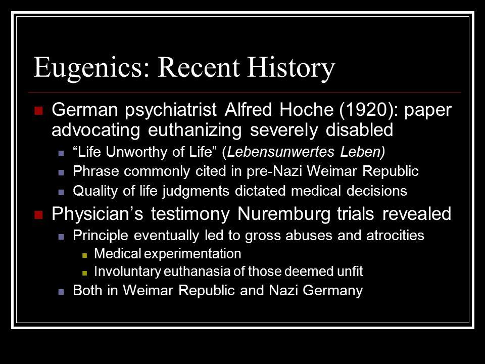 Eugenics: Recent History