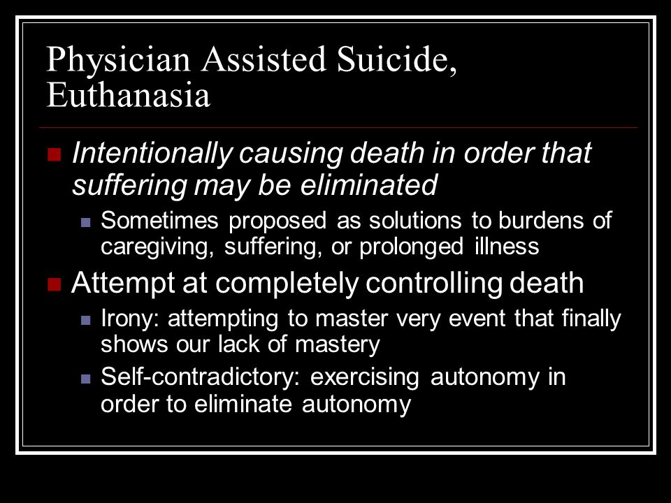 Physician Assisted Suicide, Euthanasia