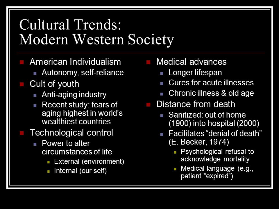 Cultural Trends: Modern Western Society