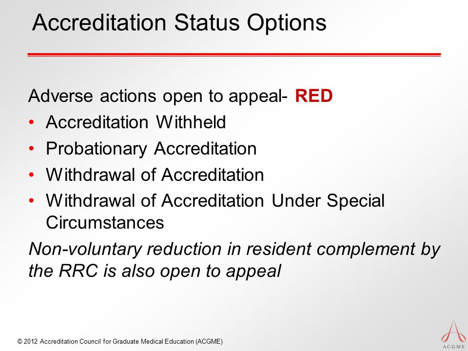 Accreditation Status Options