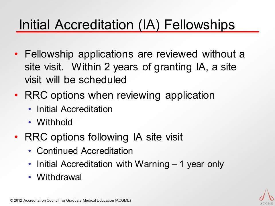 Initial Accreditation (IA) Fellowships