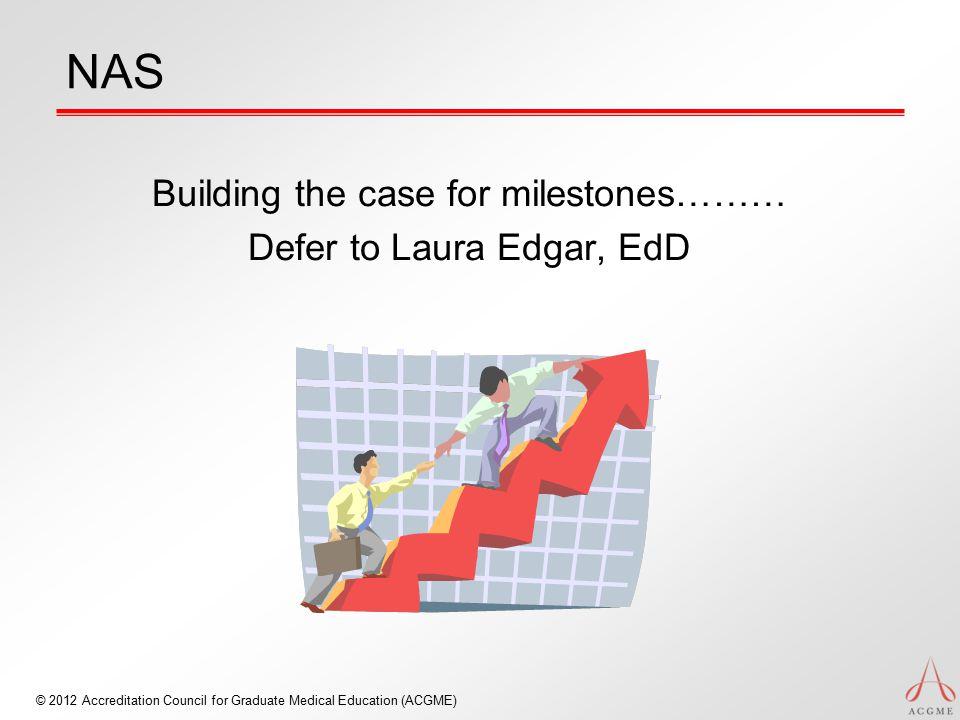 Building the case for milestones……… Defer to Laura Edgar, EdD