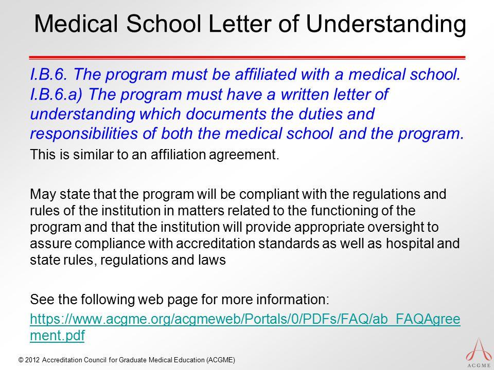 Medical School Letter of Understanding