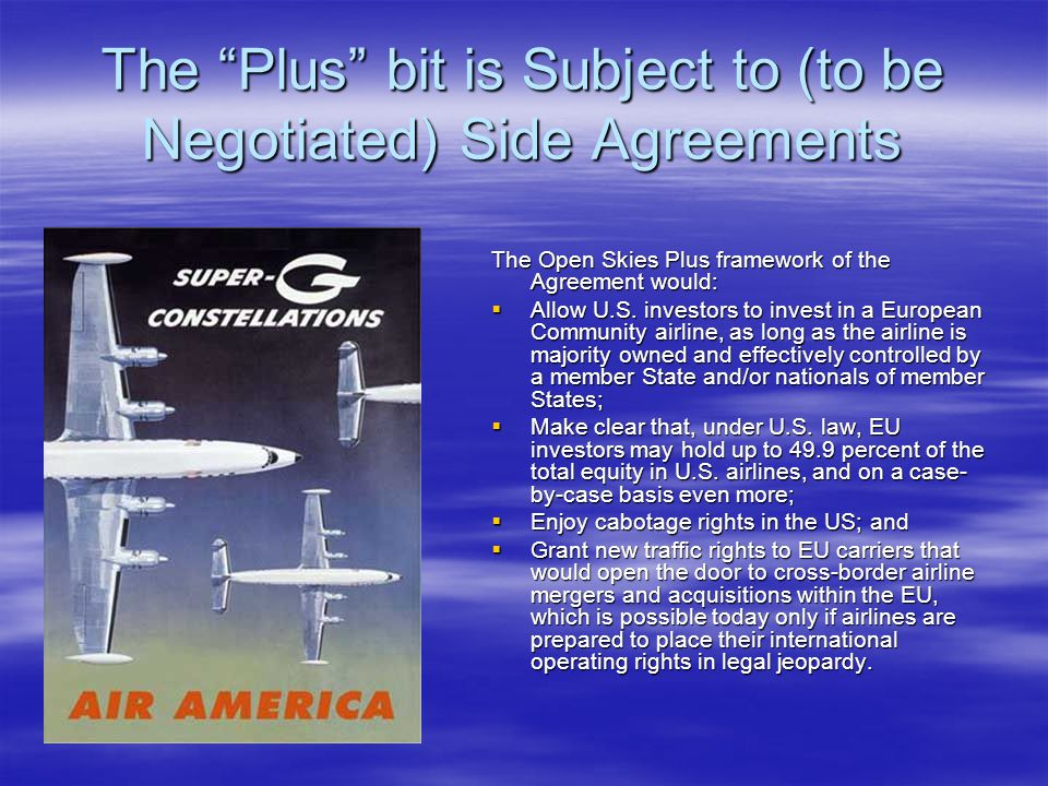 The Plus bit is Subject to (to be Negotiated) Side Agreements
