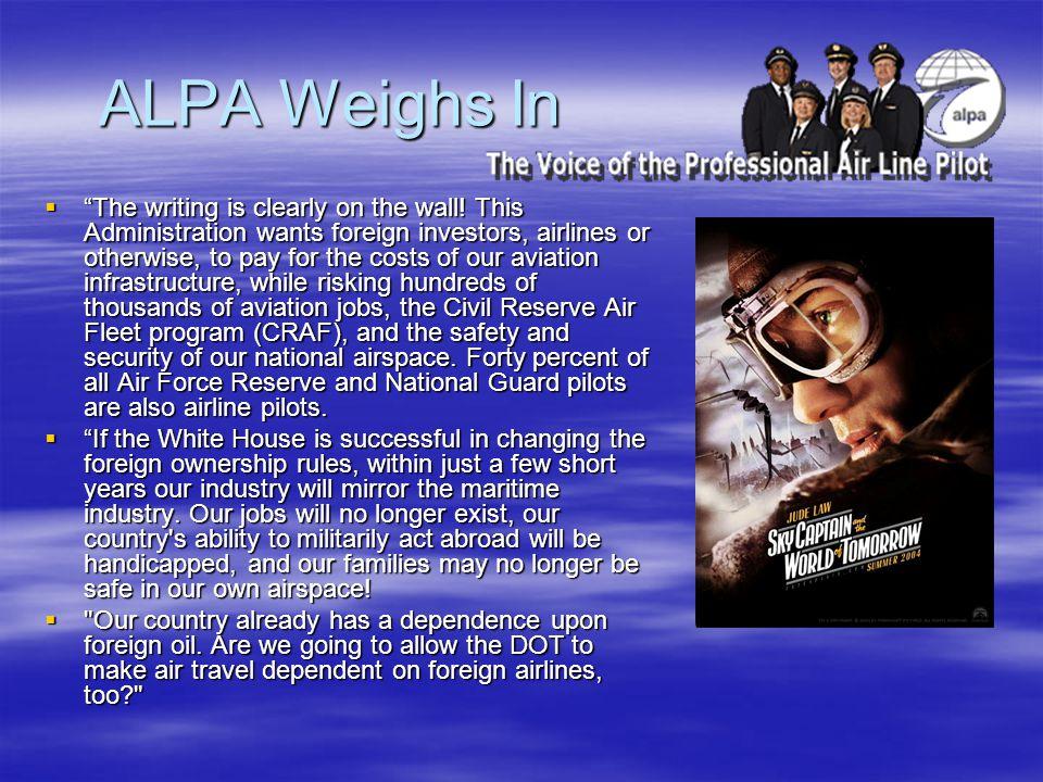 ALPA Weighs In