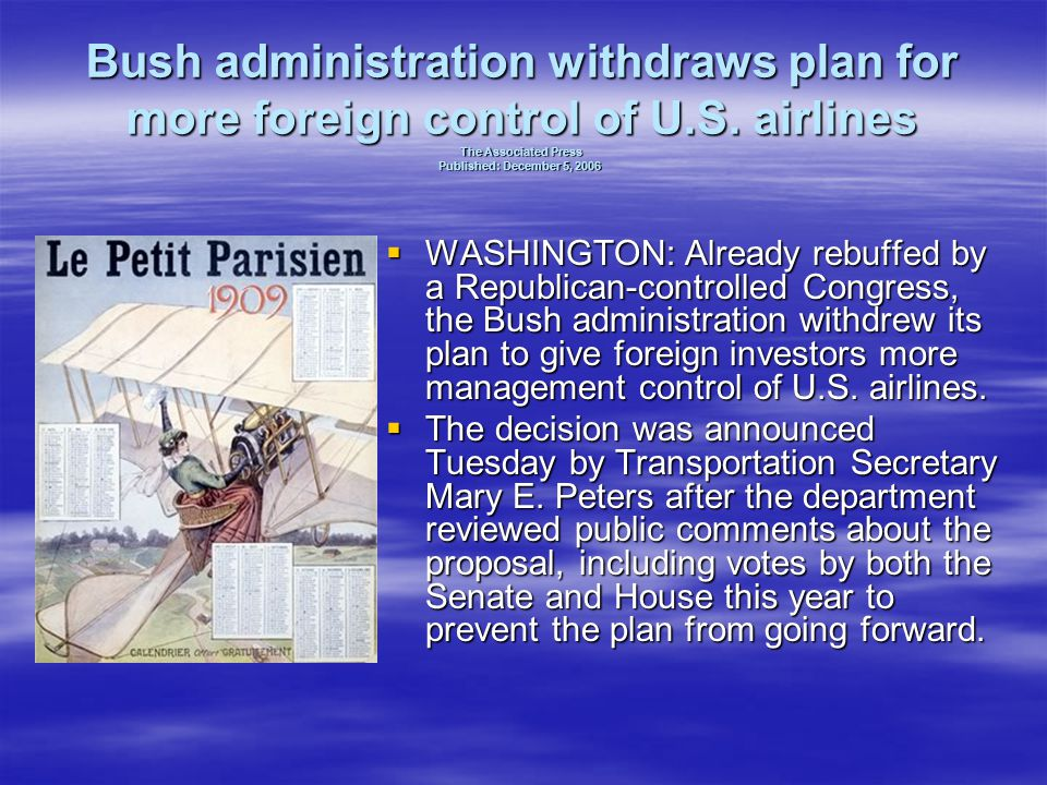 Bush administration withdraws plan for more foreign control of U. S